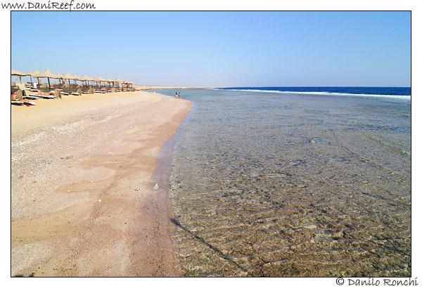 Il sole illumina l'acqua sulla spiaggia tropicale di Marsa Alam.
