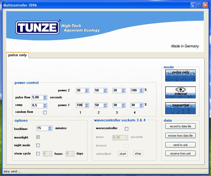 Tunze Multicontroller 7096 - schermata computer