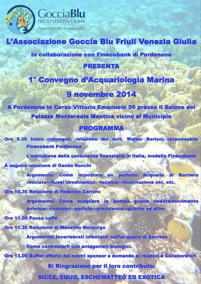 locandina primo convegno acquariologia marina pordenone 2014