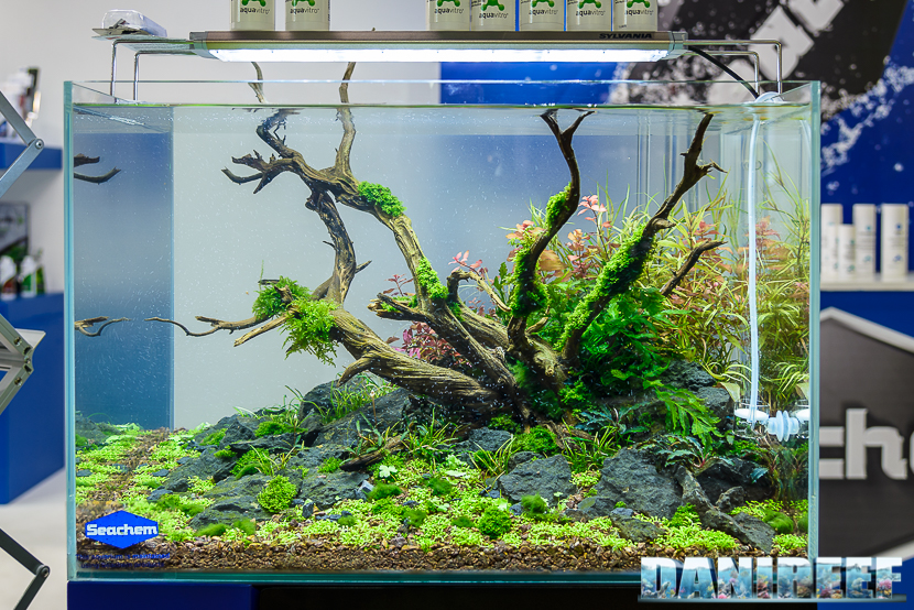 Lo stand seachem con la presentazione della linea aquavitro for Acqua acquario