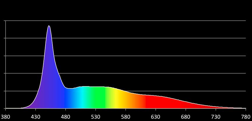 Lo spettro liscio della luce LED (in questo caso Cool Daylight), molto più lineare delle classiche lampade a fluorescenza.