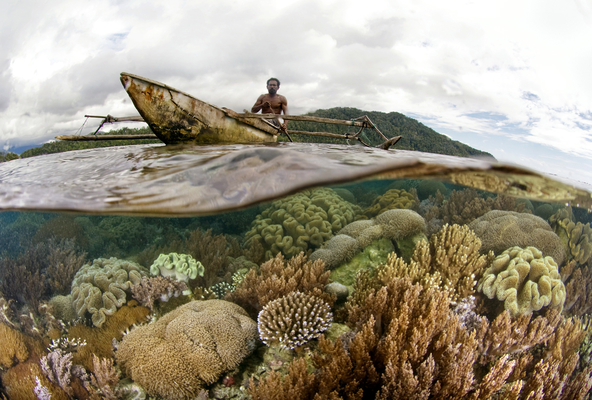 View of a man in a boat and underwater coral reef in Bird's Head, Raja Ampat, Indonesia