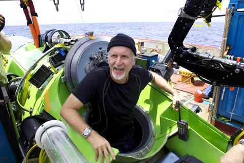 Explorer James Cameron emerges from the DEEPSEA CHALLENGER submersible after his successful solo dive March 26, 2012 to the Mariana Trench, the deepest part of the ocean. Cameron plunged about seven miles (11 kilometers) to the bottom of the Marina Trench in the western Pacific, where temperatures are barely above freezing and the pressure is a crushing thousand times that at sea level. The dive was part of DEEPSEA CHALLENGE, a joint scientific expedition by Cameron, the National Geographic Society and Rolex to conduct deep-ocean research. One-time use for coverage or promotion of DEEPSEA CHALLENGE dated 2012 and exclusively in conjunction thereof. Copying, distribution, archiving, sublicensing, sale, or resale of the image is prohibited. AFP PHOTO/HANDOUT/ Mark Thiessen/National Geographic Filmmaker and National Geographic == One-time use for coverage or promotion of DEEPSEA CHALLENGE dated 2012 and exclusively in conjunction thereof. Copying, distribution, archiving, sublicensing, sale, or resale of the image is prohibited == DEFAULT: Failure to comply with the prohibitions and requirements set forth above will obligate the individual or entity receiving this image to pay a fee determined by National Geographic.