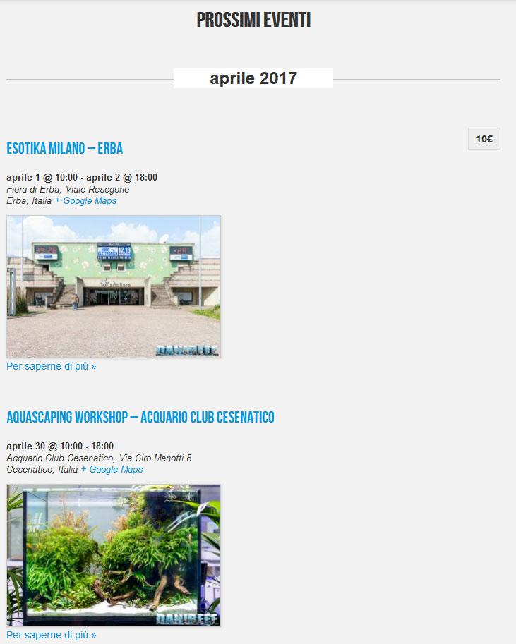 calendario eventi del mondo dell'acquario - vista eventi