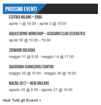 calendario eventi del mondo dell'acquario - widget in colonna laterale