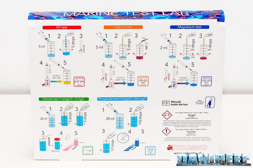 Marine Test Lab by Colombo - retro della valigetta con le istruzioni