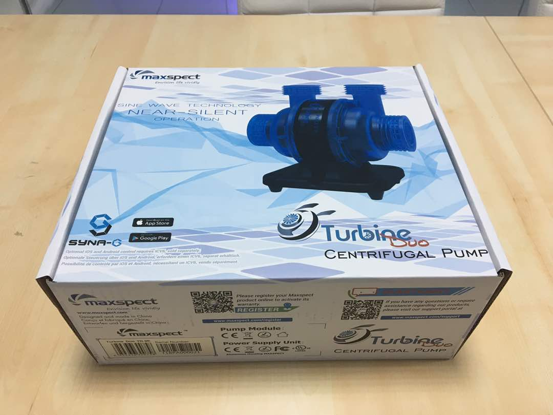 Maxspect Turbine Duo packaging (for US market). Photo courtesy of Maxspect.