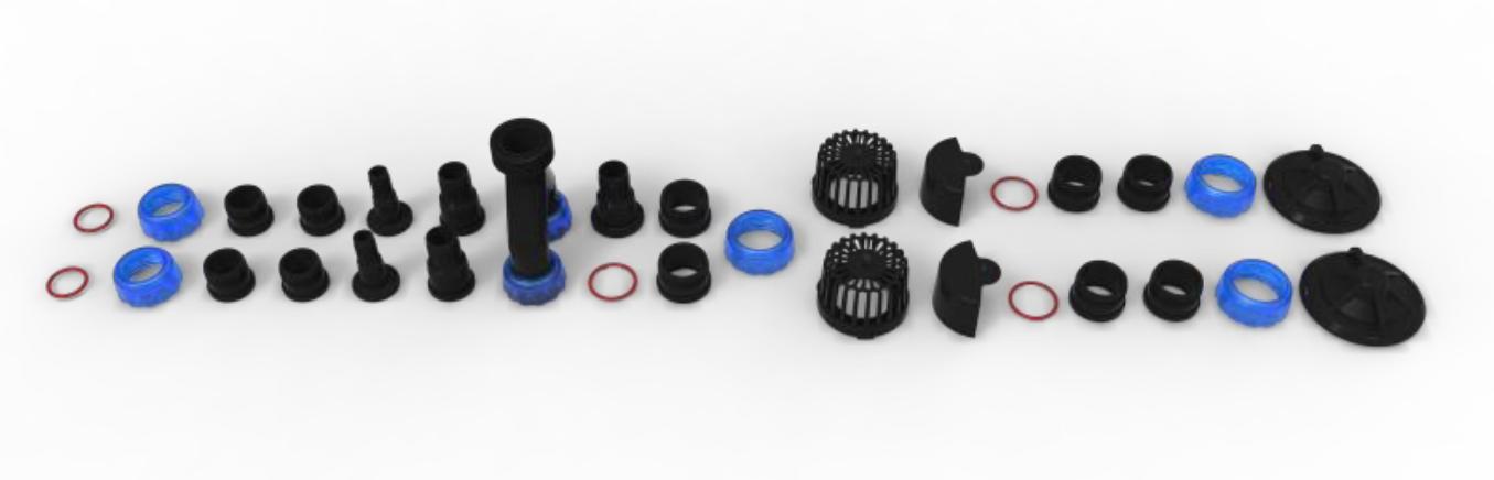 L'impressionante set di accessori in dotazione permette una configurazione pressoché totale. Photo courtesy of Maxspect.