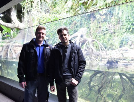Sven Tschall & me (Simone D'Archino) in front of the Brackish water aquarium