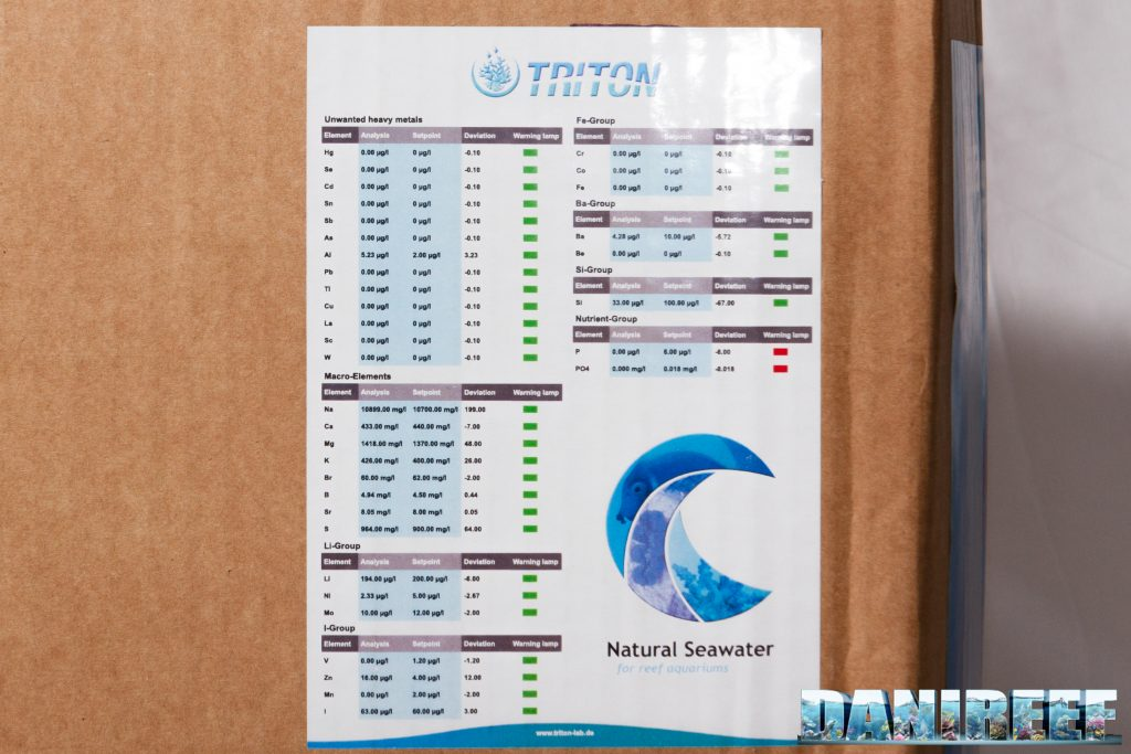 Triton test Natural Seawater for Reef Acquarium