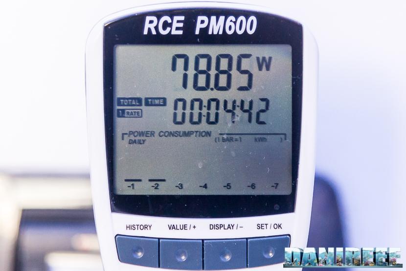 Misurazione Consumo nella plafoniera ad induzione H.V. Innovation Blue da 18.000°K e 80 watt