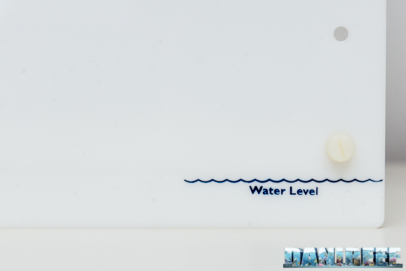 Reef Roller - il filtro a rulli di TMC - particolare del livello dell'acqua