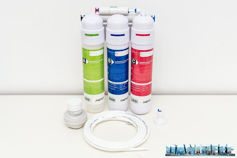 Impianto di osmosi inversa a sgancio rapido Aqpet Osmosy Twist: contenuto della confezione