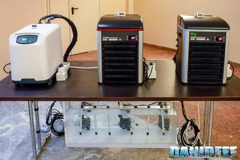 Refrigeratori a confronto: da sinistra Teco Tr 20, Teco Tk 1000 con gas R134A, Teco Tk 1000 con gas R290