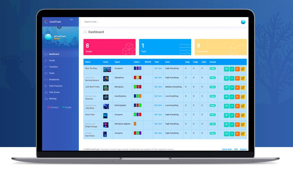 CoralTrack è un programma online per la gestione dei propri coralli